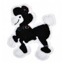 PATCH CHENILLE POODLE 8IN BK W