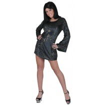 DISCO BABE BLACK DRESS LARGE