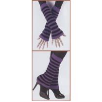 FUZZY ARM/LEG WARMERS BK/PURPL