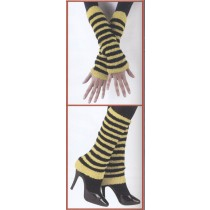 FUZZY ARM/LEG WARMERS BK/YELLO