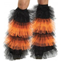 BOOT COVERS TULLE RUFFLE BLACK