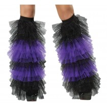 BOOT COVERS TULLE RUFFLE  BLAC