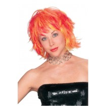 CHOPPY LAYERED RED YELLOW WIG