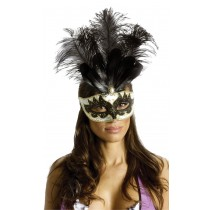 CARNIVAL MASK BIG FEATHR BK/GD