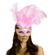 CARNIVAL MASK BIG FEATHR PINK