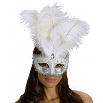CARNIVAL MASK BIG FEATHR WT/SV