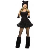 ANIMAL HOODIE  ADULT BLACK CAT