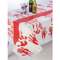 TABLECLOTH BLOODY HAND PLASTIC