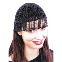 20S BEADED CAP BLK