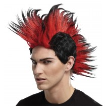 DOUBLE MOHAWK WIG BLACK RED BL