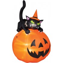 AIRBLOWN CAT OVER JACK-O-LANTE