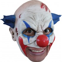 CLOWN LATEX MASK W/ BLUE HAIR