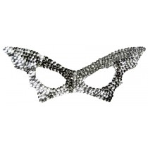 BAT MASK SEQUIN SILVER