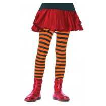 TIGHTS CHILD STRIPED BK/OR 4-6