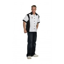 BOWLING SHIRT BLACK/WHITE OS